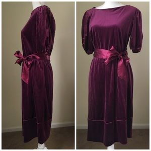 Vintage Burgundy Velvet Belted Dress, Large